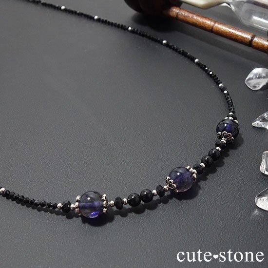 【Gothic Princess】アイオライト ブラックスピネル モリオンのネックレスの写真2 cute stone