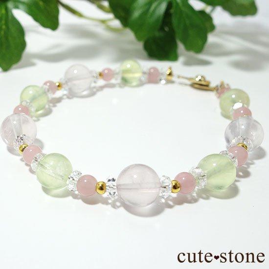 【春爛漫】プレナイト ローズクォーツ グァバクォーツ 水晶のブレスレットの写真3 cute stone
