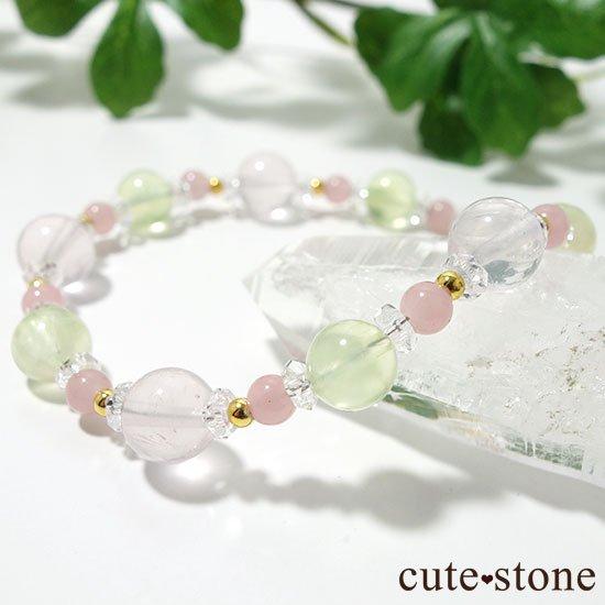 【春爛漫】プレナイト ローズクォーツ グァバクォーツ 水晶のブレスレットの写真5 cute stone