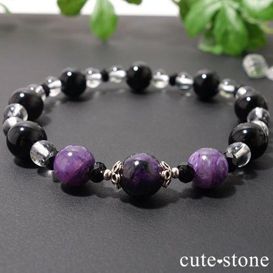 【Purple illusion】スギライト チャロアイト モリオン スティブナイトインクォーツのブレスレットの写真1 cute stone
