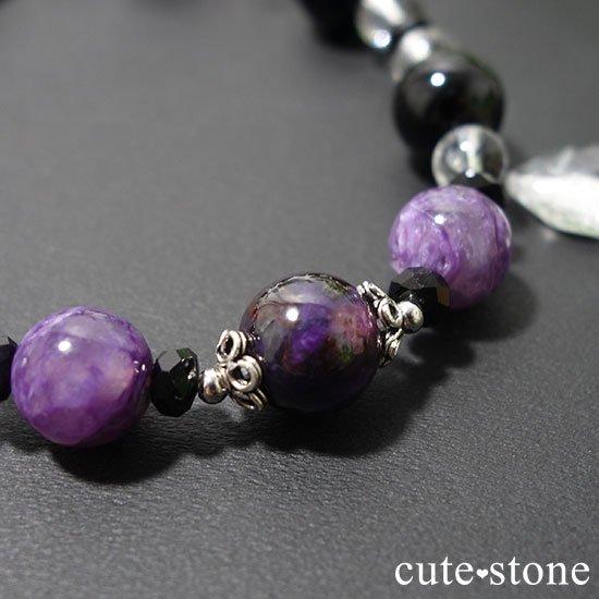 【Purple illusion】スギライト チャロアイト モリオン スティブナイトインクォーツのブレスレットの写真2 cute stone