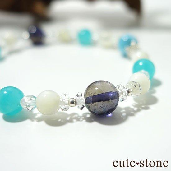 【Treasure of Mermaid】ラリマー スターアイオライト アイスアマゾナイト 水晶 マザーオブパールのブレスレットの写真2 cute stone