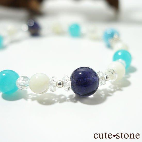 【Treasure of Mermaid】ラリマー スターアイオライト アイスアマゾナイト 水晶 マザーオブパールのブレスレットの写真3 cute stone