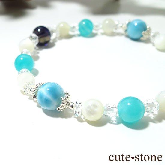 【Treasure of Mermaid】ラリマー スターアイオライト アイスアマゾナイト 水晶 マザーオブパールのブレスレットの写真4 cute stone