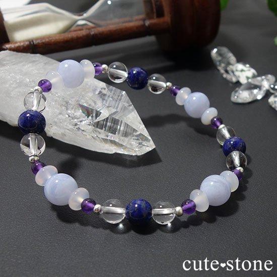 【昼と夜の空色物語】ブルーレース ラピスラズリ アメジスト ホワイトカルセドニー 水晶のブレスレットの写真0 cute stone