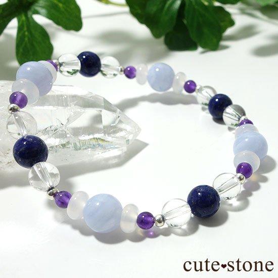 【昼と夜の空色物語】ブルーレース ラピスラズリ アメジスト ホワイトカルセドニー 水晶のブレスレットの写真1 cute stone