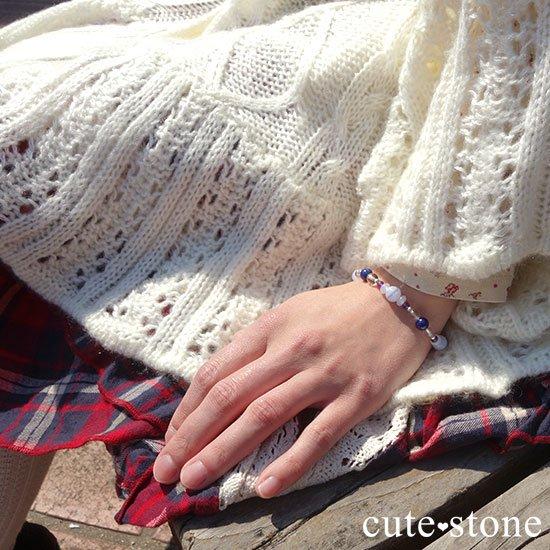 【昼と夜の空色物語】ブルーレース ラピスラズリ アメジスト ホワイトカルセドニー 水晶のブレスレットの写真6 cute stone