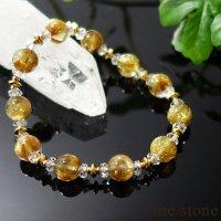 【Luxury Bracelet】ゴールドルチルと水晶のブレスレットの画像