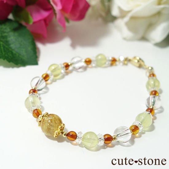【Rapunzel】ゴールドルチル アンバー プレナイト アイスクリスタル 水晶のブレスレットの写真2 cute stone