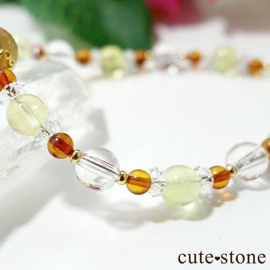 【Rapunzel】ゴールドルチル アンバー プレナイト アイスクリスタル 水晶のブレスレットの写真4 cute stone