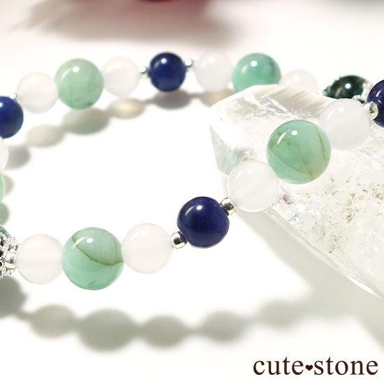【Ange vert】セラフィナイト エメラルド インペリアルソーダライト ホワイトカルセドニーのブレスレットの写真1 cute stone