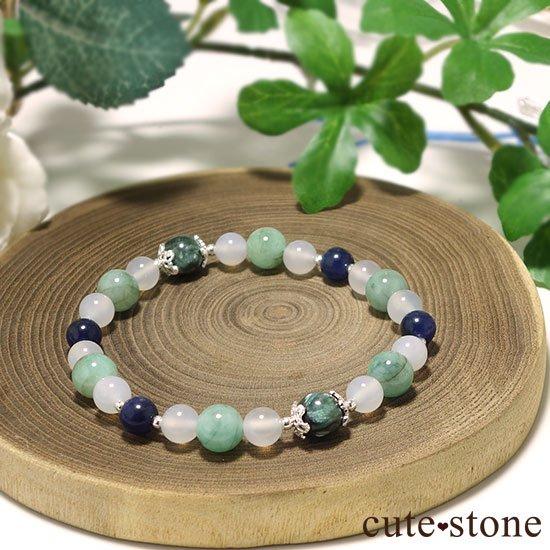 【Ange vert】セラフィナイト エメラルド インペリアルソーダライト ホワイトカルセドニーのブレスレットの写真3 cute stone