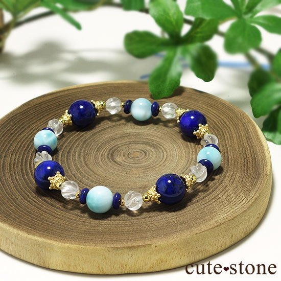 【Horizon】ラピスラズリ ラリマー ミルキークォーツのブレスレットの写真3 cute stone