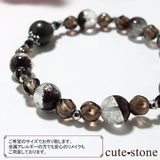【大地の神秘】シャーマナイト ガーデンクォーツ ブラックスピネル スモーキークォーツのブレスレットの写真5 cute stone