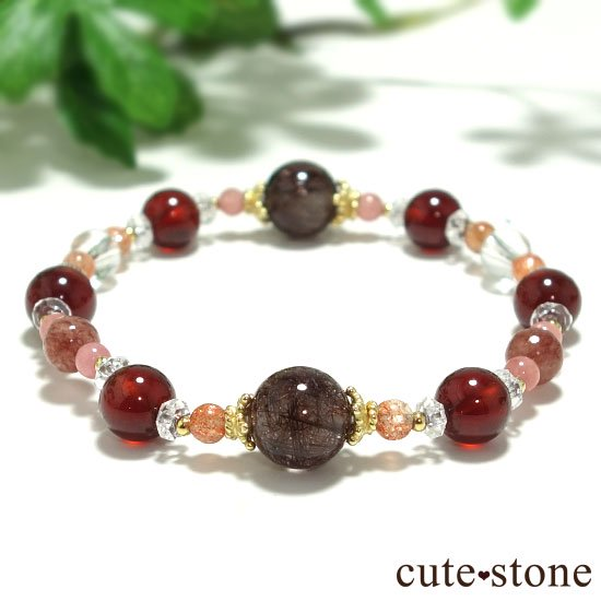 【tea time】ブラウンルチル サンストーン ヘソナイト インカローズ モスコバイトのブレスレットの写真0 cute stone