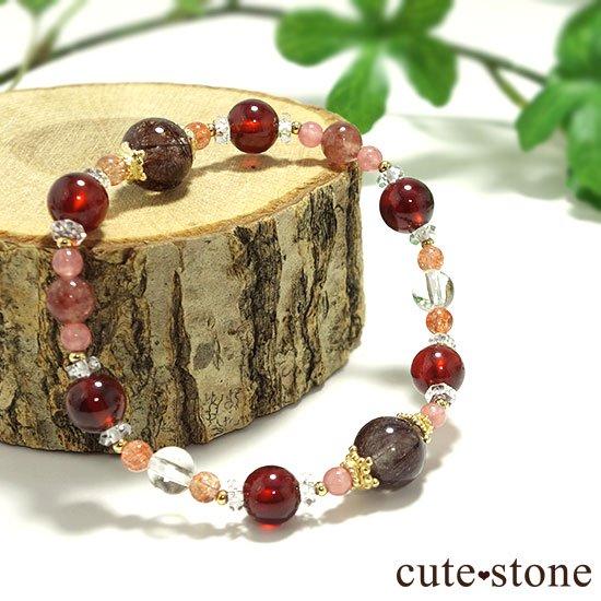 【tea time】ブラウンルチル サンストーン ヘソナイト インカローズ モスコバイトのブレスレットの写真3 cute stone