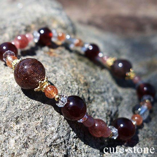 【tea time】ブラウンルチル サンストーン ヘソナイト インカローズ モスコバイトのブレスレットの写真5 cute stone