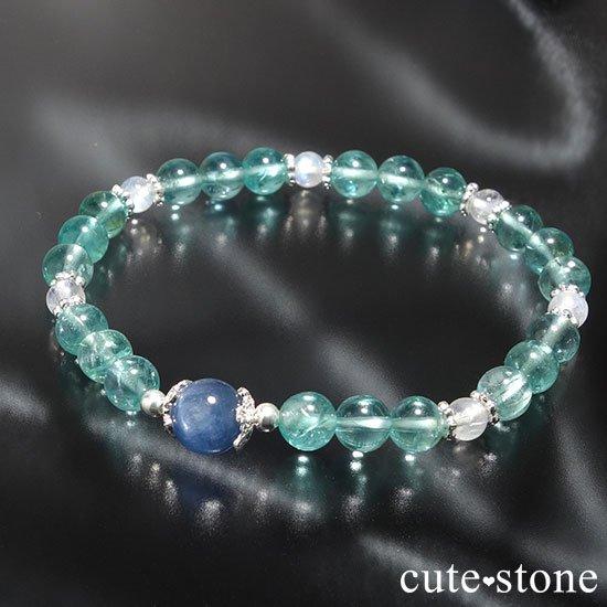【水の紋章】カイヤナイト ブルーアパタイト レインボームーンストーンのブレスレット