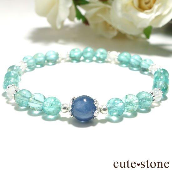 【水の紋章】カイヤナイト ブルーアパタイト レインボームーンストーンのブレスレットの写真3 cute stone