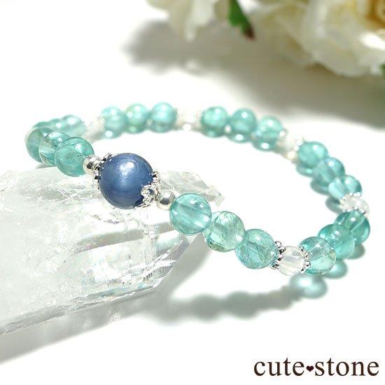 【水の紋章】カイヤナイト ブルーアパタイト レインボームーンストーンのブレスレットの写真5 cute stone