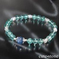 【水の紋章】カイヤナイト ブルーアパタイト レインボームーンストーンのブレスレットの画像