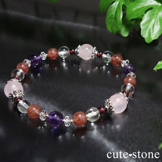 【Elegant Rose】ローズクォーツ モスコバイト アメジスト 水晶 ガーネットのブレスレットの写真1 cute stone