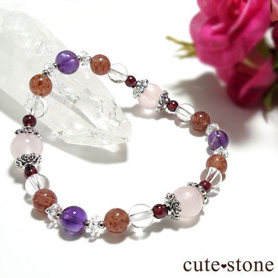 【Elegant Rose】ローズクォーツ モスコバイト アメジスト 水晶 ガーネットのブレスレットの写真3 cute stone