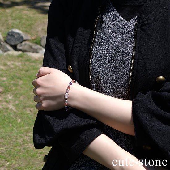 【Elegant Rose】ローズクォーツ モスコバイト アメジスト 水晶 ガーネットのブレスレットの写真5 cute stone