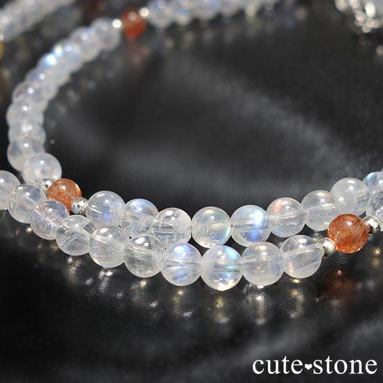【太陽と月のネックレス】インペリアルトパーズ サンストーン レインボームーンストーンのネックレスの写真2 cute stone