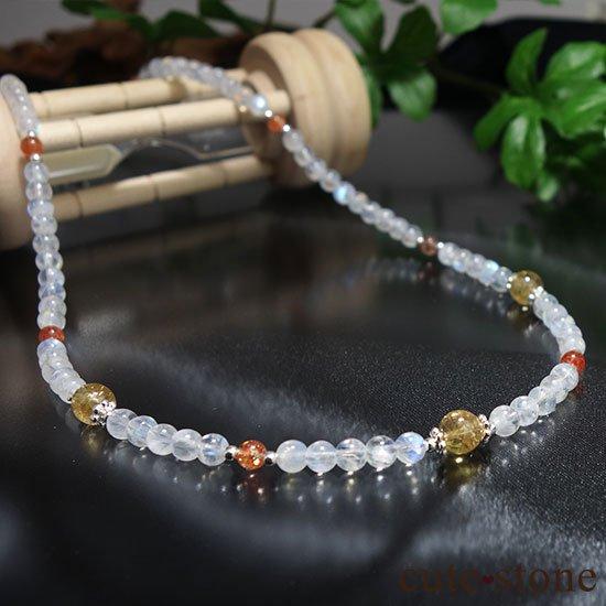【太陽と月のネックレス】インペリアルトパーズ サンストーン レインボームーンストーンのネックレスの写真3 cute stone