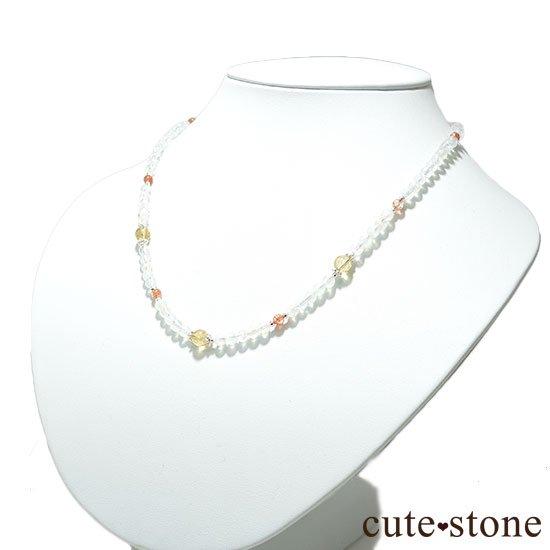 【太陽と月のネックレス】インペリアルトパーズ サンストーン レインボームーンストーンのネックレスの写真4 cute stone