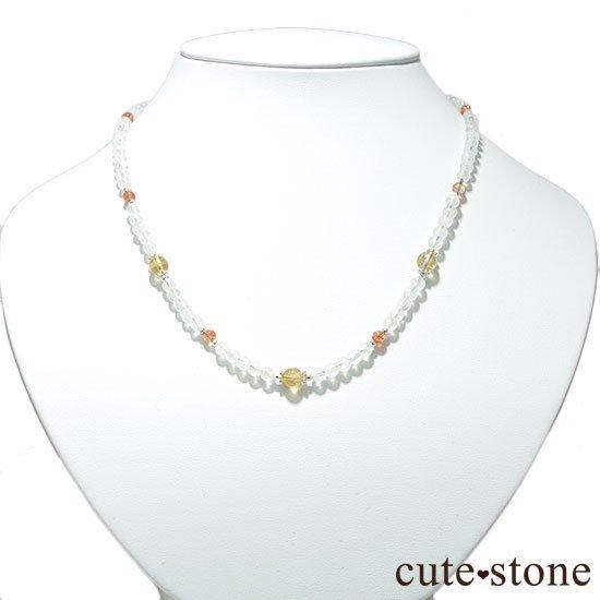 【太陽と月のネックレス】インペリアルトパーズ サンストーン レインボームーンストーンのネックレスの写真5 cute stone