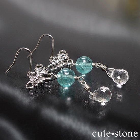ブルーアパタイト 水晶の羽モチーフのピアス イヤリングの写真0 cute stone