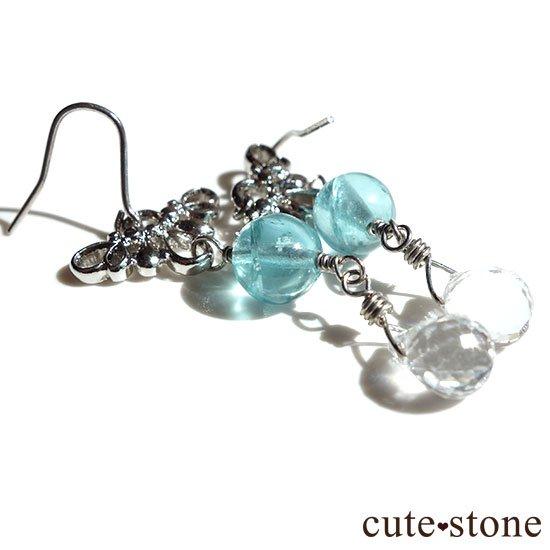 ブルーアパタイト 水晶の羽モチーフのピアス イヤリングの写真1 cute stone
