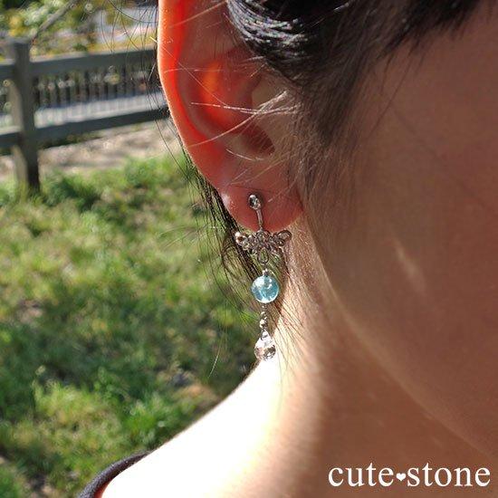 ブルーアパタイト 水晶の羽モチーフのピアス イヤリングの写真3 cute stone