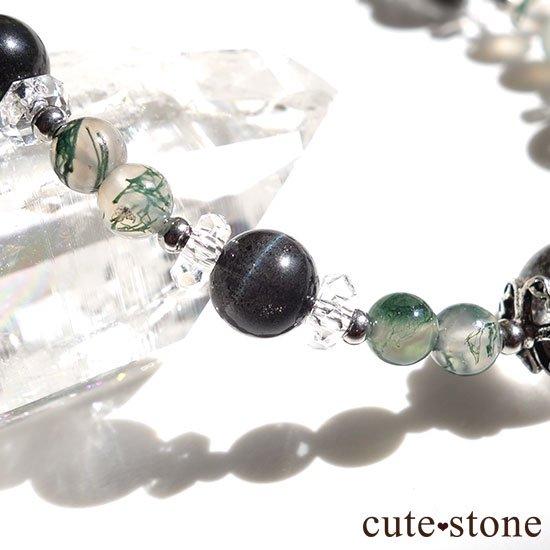 【箱庭の夜】ガーデンクォーツ ブラックスキャポライト モスアゲート 水晶のブレスレットの写真1 cute stone