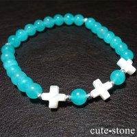 【Saint cross】マザーオブパール アイスアマゾナイトのブレスレットの画像