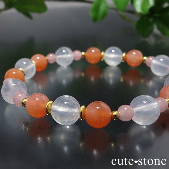 【月の果実】K2ムーンクォーツ アプリコットアゲート グァバクォーツのブレスレットの写真4 cute stone