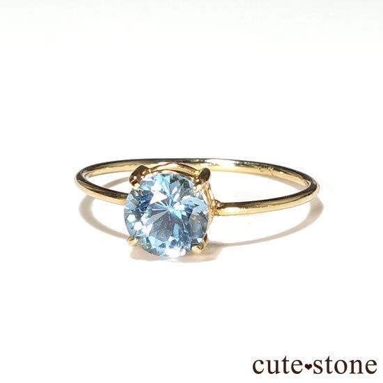 ブルートパーズのK18リング(サイズ調整可)の写真1 cute stone