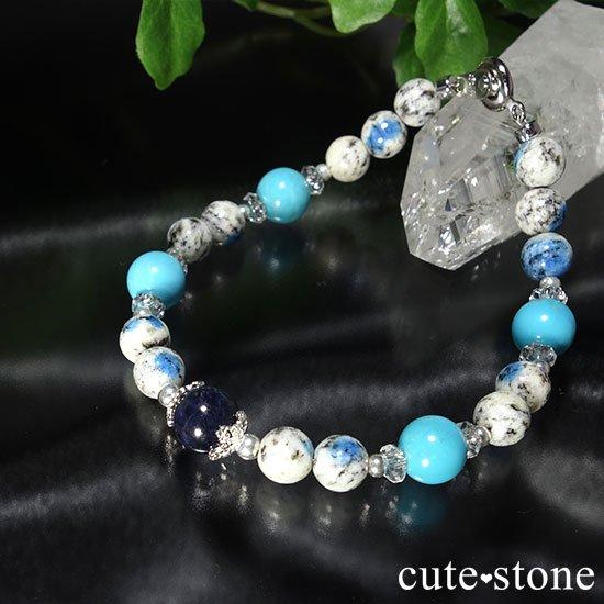 【晴天の彼方へ】サファイア ターコイズ K2アズライト 水晶のブレスレットの写真2 cute stone