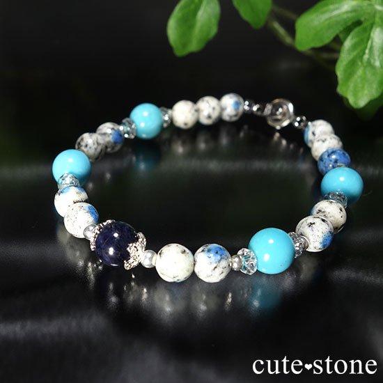 【晴天の彼方へ】サファイア ターコイズ K2アズライト 水晶のブレスレットの写真3 cute stone