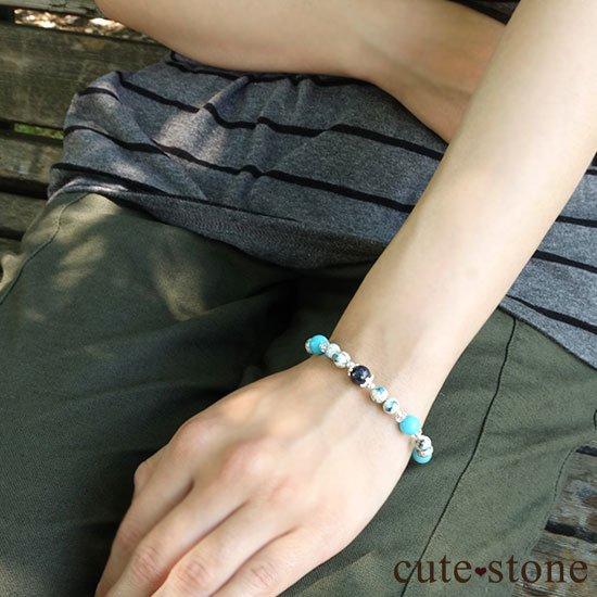 【晴天の彼方へ】サファイア ターコイズ K2アズライト 水晶のブレスレットの写真6 cute stone