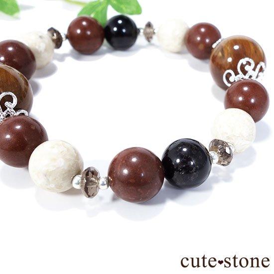 【古の木霊】ペトリファイドウッド セドナストーン リバーストーン モリオン スモーキークォーツのブレスレットの写真1 cute stone