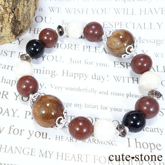 【古の木霊】ペトリファイドウッド セドナストーン リバーストーン モリオン スモーキークォーツのブレスレットの写真2 cute stone