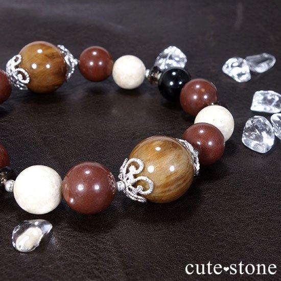 【古の木霊】ペトリファイドウッド セドナストーン リバーストーン モリオン スモーキークォーツのブレスレットの写真3 cute stone