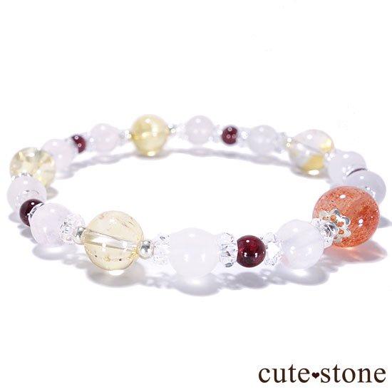 【太陽のプリンセス】サンストーン ガーネット シトリン ローズクォーツ 水晶のブレスレットの写真3 cute stone