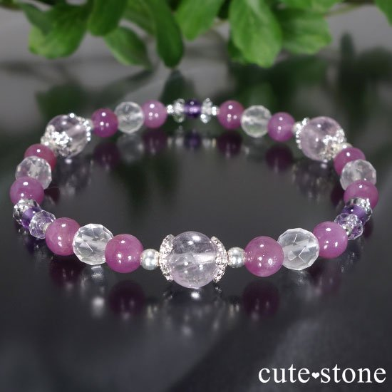 【天姿国色】クンツァイト ピンクサファイア アメジスト ミルキークォーツのブレスレットの写真0 cute stone
