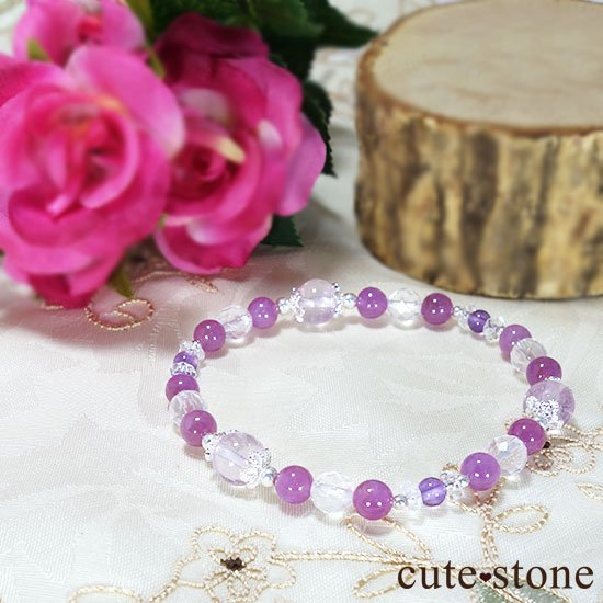 【天姿国色】クンツァイト ピンクサファイア アメジスト ミルキークォーツのブレスレットの写真3 cute stone