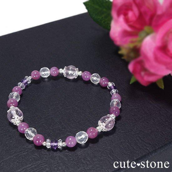 【天姿国色】クンツァイト ピンクサファイア アメジスト ミルキークォーツのブレスレットの写真4 cute stone