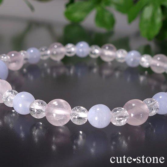 【Fancy girl】ブルーレース ローズクォーツ クラック水晶のブレスレットの写真0 cute stone